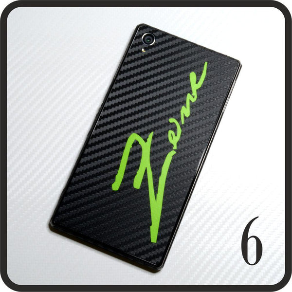 Sony Xperia Z1 carbon fibre and matt green skin design 6