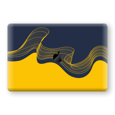 "MacBook PRO 16"" (2019) Print Custom Signature Navy Yellow Abstract Waves Skin Wrap Decal by EasySkinz"