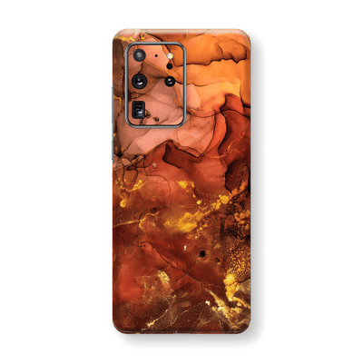 Samsung Galaxy S20 ULTRA SIGNATURE AGATE GEODE Flaming Orange Brown Fiery Gold Nebula Skin, Wrap, Decal, Protector, Cover by EasySkinz | EasySkinz.com