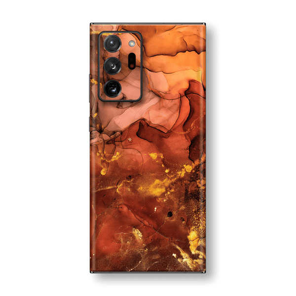 Samsung Galaxy NOTE 20 ULTRA SIGNATURE AGATE GEODE Flaming Orange Brown Fiery Gold Nebula Skin, Wrap, Decal, Protector, Cover by EasySkinz | EasySkinz.com