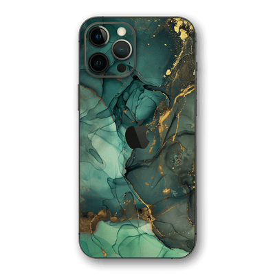 iPhone 12 PRO SIGNATURE AGATE GEODE Royal Green-Gold Skin, Wrap, Decal, Protector, Cover by EasySkinz | EasySkinz.com