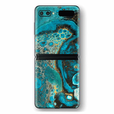 Samsung Galaxy Z Flip Print Printed Custom SIGNATURE Marbleised REEF Skin Wrap Sticker Decal Cover Protector by EasySkinz