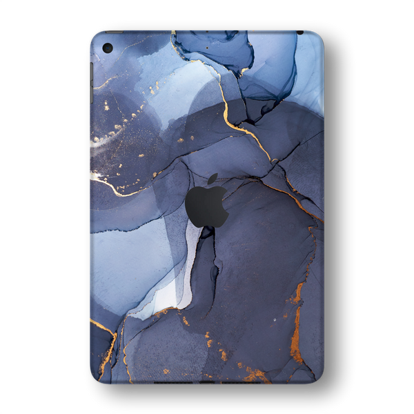 iPad MINI 5 (5th Generation 2019) SIGNATURE AGATE GEODE Pigeon Blue-Gold Skin Wrap Sticker Decal Cover Protector by EasySkinz