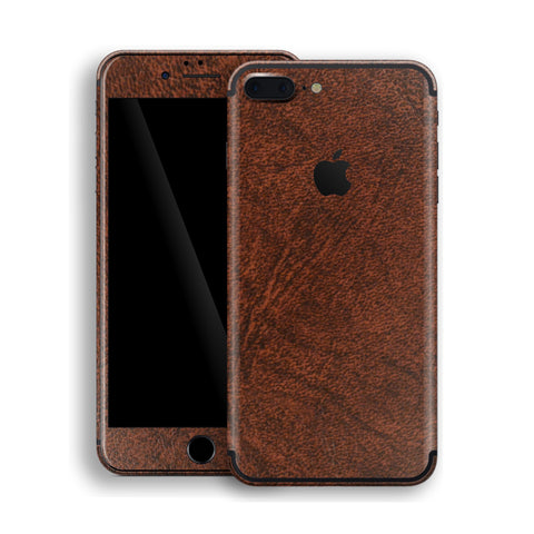 iPhone 7 PLUS Luxuria Brown Leather Skin Wrap Decal Protector | EasySkinz