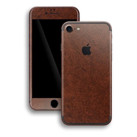 iPhone 7 Luxuria Brown Leather Skin Wrap Decal Protector | EasySkinz