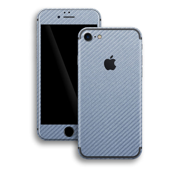 iPhone 7 Arctic Blue 3D Textured CARBON Fibre Fiber Skin, Wrap, Decal, Protector, Cover by EasySkinz | EasySkinz.com