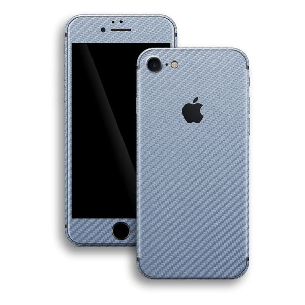 iPhone 8 Arctic Blue 3D Textured CARBON Fibre Fiber Skin, Wrap, Decal, Protector, Cover by EasySkinz | EasySkinz.com