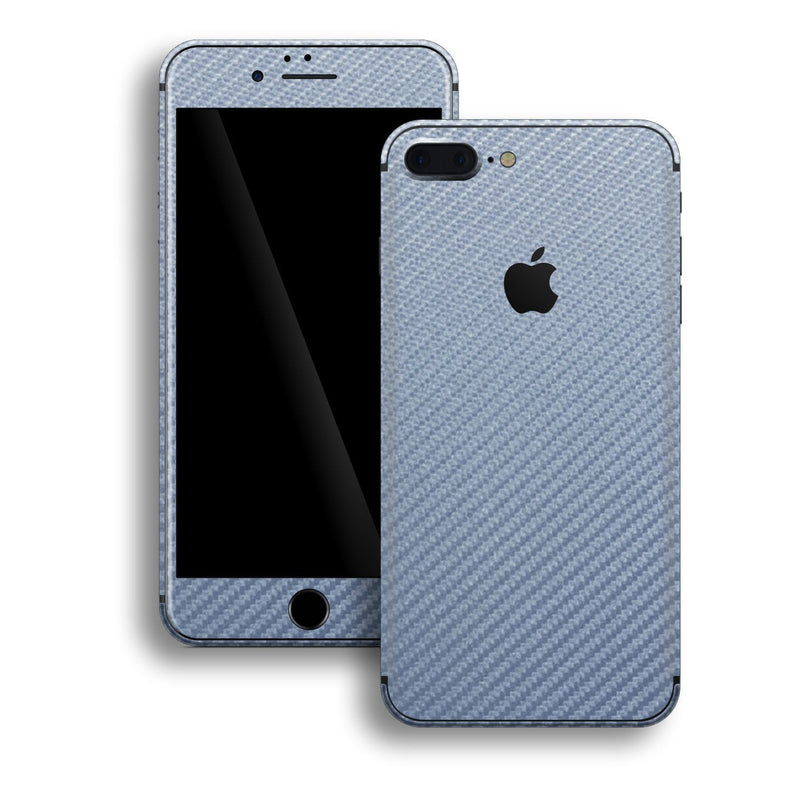 iPhone 8 Plus 3D Textured Arctic Blue Carbon Fibre Fiber Skin, Decal, Wrap, Protector, Cover by EasySkinz | EasySkinz.com