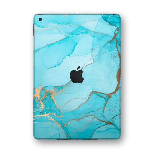 "iPad 10.2"" (7th Gen, 2019) SIGNATURE AGATE GEODE Aqua-Gold Skin Wrap Sticker Decal Cover Protector by EasySkinz"
