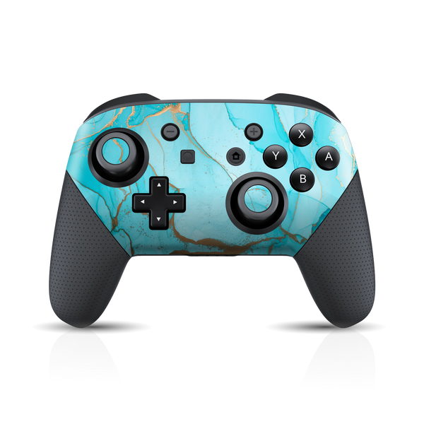 Nintendo Switch Pro Controller Print Printed Custom SIGNATURE AGATE GEODE Aqua-Gold Skin Wrap Sticker Decal Cover Protector by EasySkinz