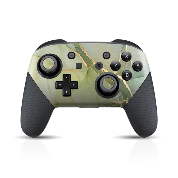 Nintendo Switch Pro Controller Print Printed Custom SIGNATURE AGATE GEODE Green-Gold Skin Wrap Sticker Decal Cover Protector by EasySkinz