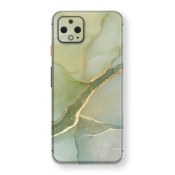 Google Pixel 4 Print Custom SIGNATURE AGATE GEODE Green-Gold Skin, Wrap, Decal, Protector, Cover by EasySkinz | EasySkinz.com