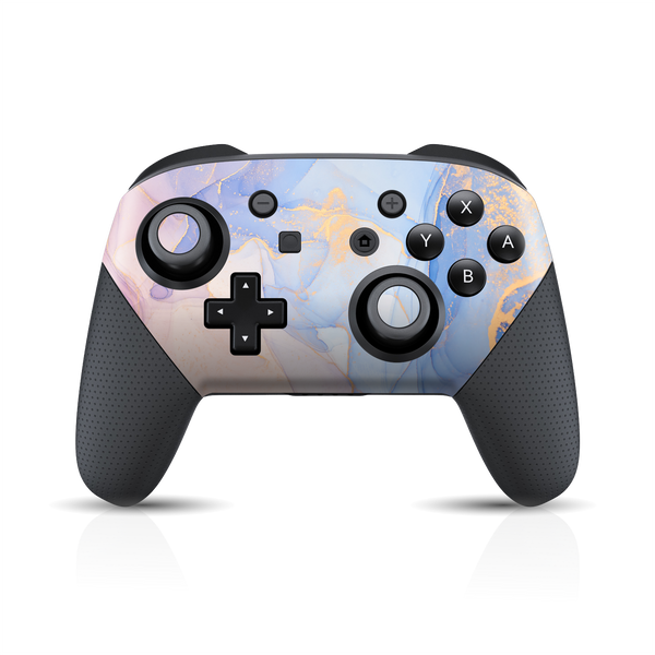 Nintendo Switch Pro Controller Print Printed Custom SIGNATURE AGATE GEODE Pastel-Gold Skin Wrap Sticker Decal Cover Protector by EasySkinz