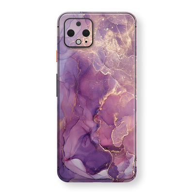 Google Pixel 4 Print Custom SIGNATURE AGATE GEODE Purple-Gold Skin, Wrap, Decal, Protector, Cover by EasySkinz | EasySkinz.com