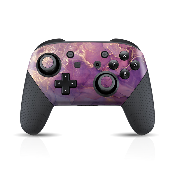 Nintendo Switch Pro Controller Print Printed Custom SIGNATURE AGATE GEODE Purple-Gold Skin Wrap Sticker Decal Cover Protector by EasySkinz