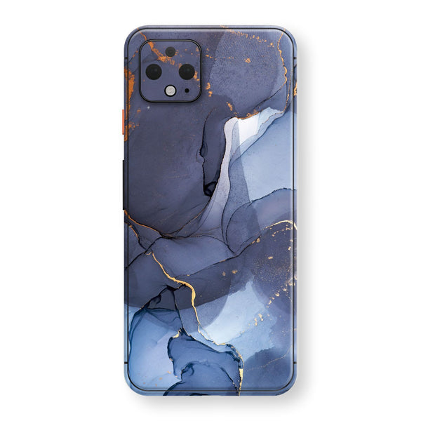 Google Pixel 4 Print Custom SIGNATURE AGATE GEODE Pigeon Blue-Gold Skin, Wrap, Decal, Protector, Cover by EasySkinz | EasySkinz.com
