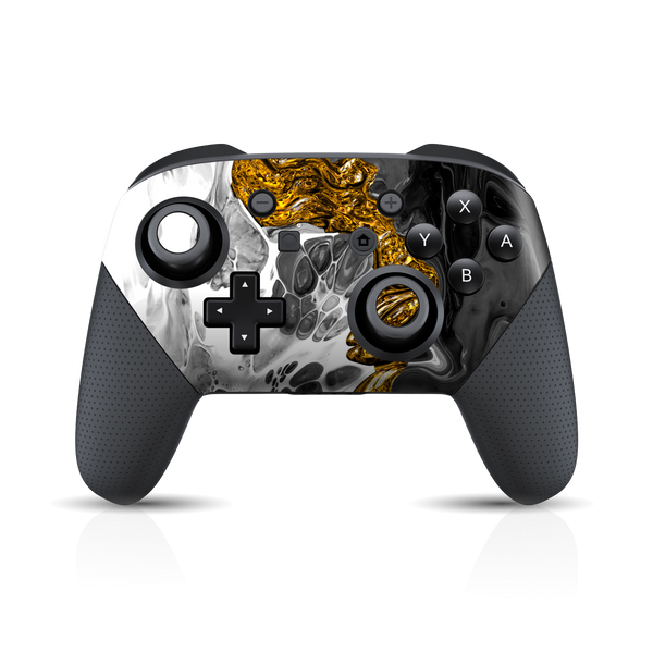 Nintendo Switch Pro Controller Print Printed Custom SIGNATURE Abstract MELTED Gold Skin Wrap Sticker Decal Cover Protector by EasySkinz
