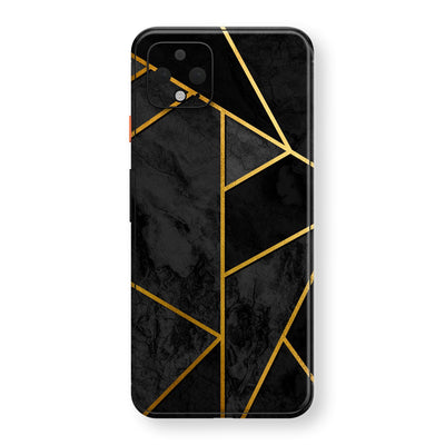 Google Pixel 4 XL Print Custom SIGNATURE Black-Gold Geometric Skin, Wrap, Decal, Protector, Cover by EasySkinz | EasySkinz.com