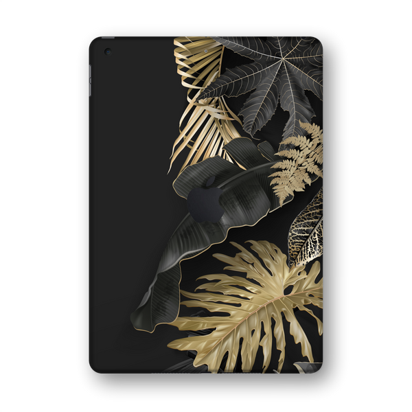 "iPad 10.2"" (7th Gen, 2019) SIGNATURE Black-Gold Tropical Leaves V3 Skin Wrap Sticker Decal Cover Protector by EasySkinz"