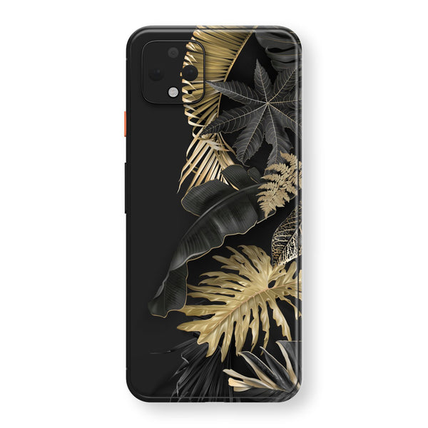 Google Pixel 4 XL Print Custom SIGNATURE Black-Gold Tropical Leaves V3 Skin, Wrap, Decal, Protector, Cover by EasySkinz | EasySkinz.com