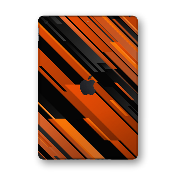 "iPad 10.2"" (7th Gen, 2019) SIGNATURE Black-Orange Stripes Skin Wrap Sticker Decal Cover Protector by EasySkinz"