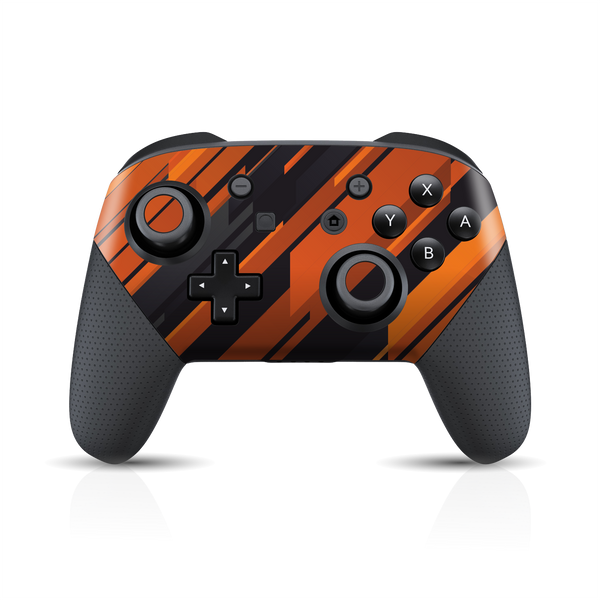 Nintendo Switch Pro Controller Print Printed Custom SIGNATURE Black-Orange Stripes Skin Wrap Sticker Decal Cover Protector by EasySkinz