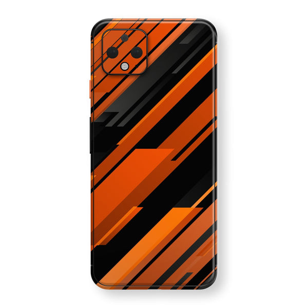 Google Pixel 4 XL Print Custom SIGNATURE Black-Orange Stripes Skin, Wrap, Decal, Protector, Cover by EasySkinz | EasySkinz.com