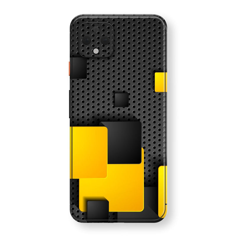 Google Pixel 4 Print Custom SIGNATURE Black and Yellow Metal Grid Skin, Wrap, Decal, Protector, Cover by EasySkinz | EasySkinz.com