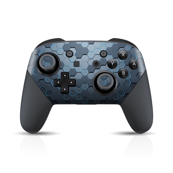 Nintendo Switch Pro Controller Print Printed Custom SIGNATURE Blue HEXAGON Skin Wrap Sticker Decal Cover Protector by EasySkinz