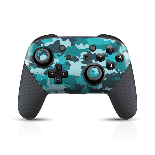 Nintendo Switch Pro Controller Print Printed Custom SIGNATURE Camouflage Turquoise Skin Wrap Sticker Decal Cover Protector by EasySkinz