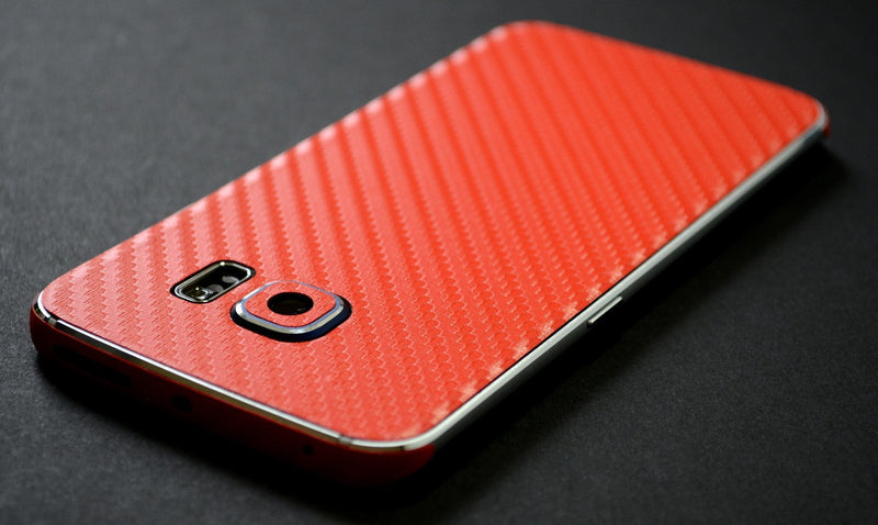 Samsung Galaxy S6 EDGE Red 3D CARBON Fibre Fiber Skin Wrap Sticker Cover Decal Protector by EasySkinz