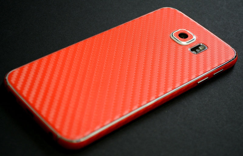 Samsung Galaxy S6 Red 3D CARBON Fibre Fiber Skin Wrap Sticker Cover Decal Protector by EasySkinz