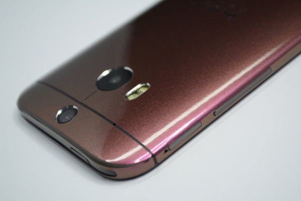 HTC One M8 purple red gold chameleon skin