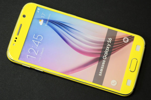 Samsung Galaxy S6 Colorful GLOSS GLOSSY Lemon Yellow Skin Wrap Sticker Cover Protector Decal by EasySkinz