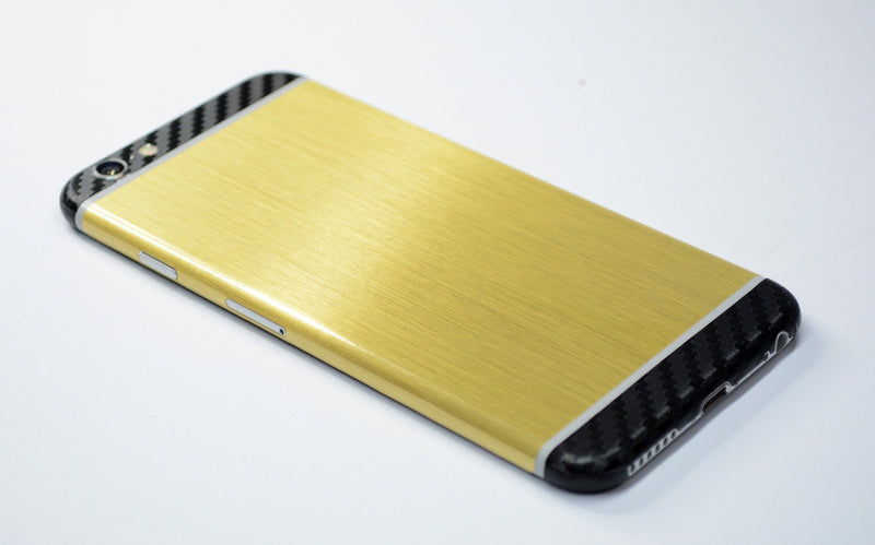 iPhone 6 Brushed GOLD with Black CARBON Fibre Skin Sticker Wrap Cover Decal Protector by EasySkinz
