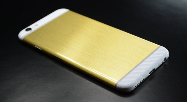 iPhone 6 Plus Brushed GOLD with WHITE Carbon Fibre Skin Wrap Sticker Cover Decal Protector by EasySkinz