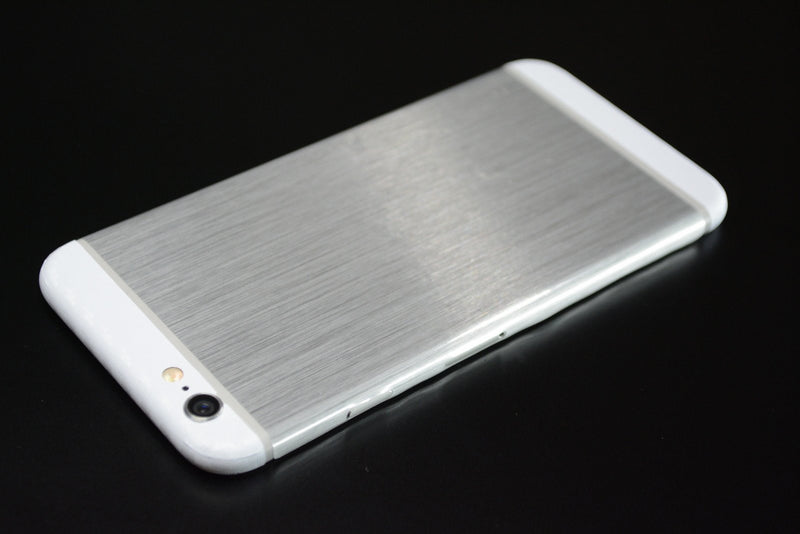 iPhone 6 Brushed SILVER with WHITE Carbon Fibre Skin Wrap Sticker Cover Decal Protector by EasySkinz