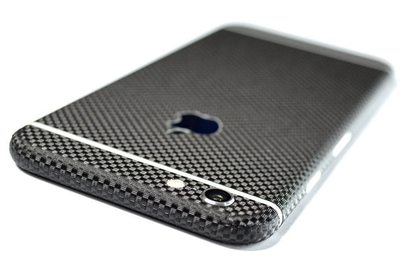 iPhone 6S MICRO 3D CARBON Fibre BLACK Skin Wrap Sticker Cover Decal Protector