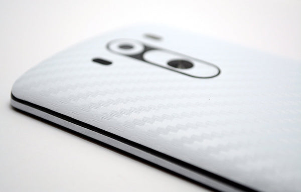 LG G3 White CARBON Fibre Skin Sticker Wrap Cover
