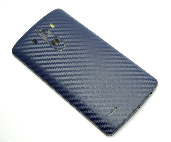 LG G3 Navy Blue CARBON Fibre Skin Sticker Wrap Cover