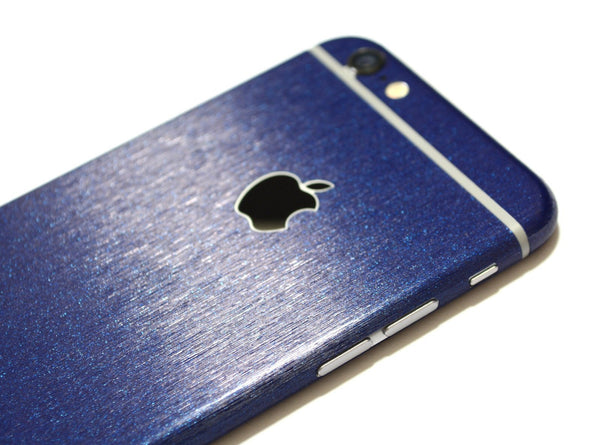 iPhone 6S 3M Brushed Steel Blue Metallic Skin Wrap Sticker Cover Protector Decal by EasySkinz