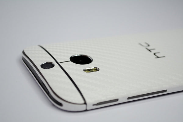 Htc One M8 white carbon fibre skin