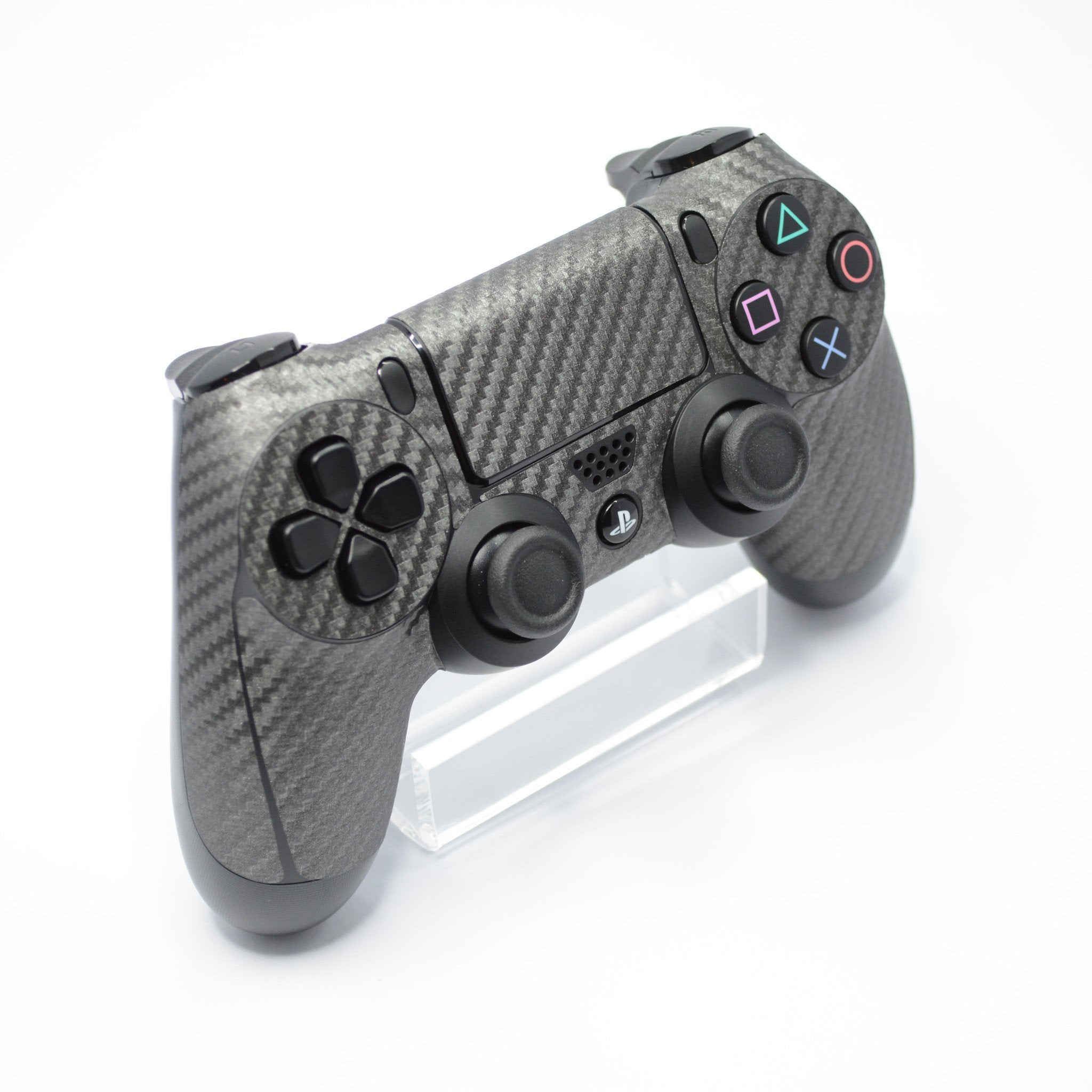 ps4 controller metallic grey carbon fibre skin