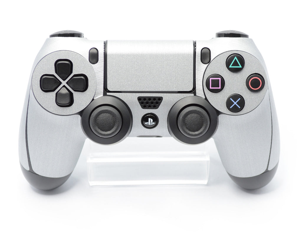 Playstation 4 (PS4) CONTROLLER 3D Textured BRUSHED METAL SILVER Skin