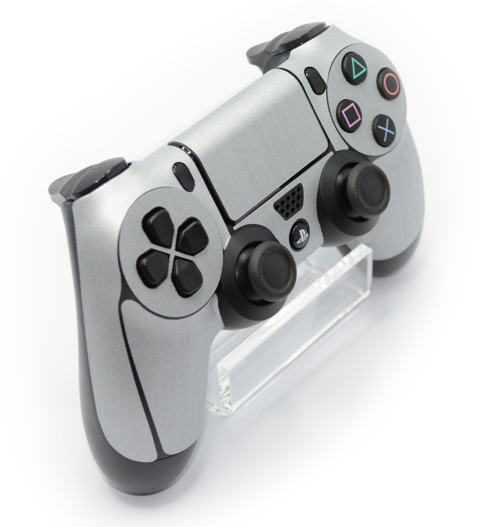 ps4 controller brushed silver skin