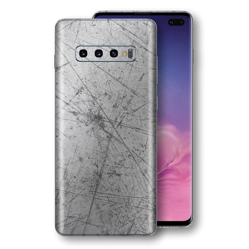 Samsung Galaxy S10+ PLUS Print Custom Signature Aluminium Scratched Plate Skin, Wrap, Decal, Protector, Cover by EasySkinz | EasySkinz.com