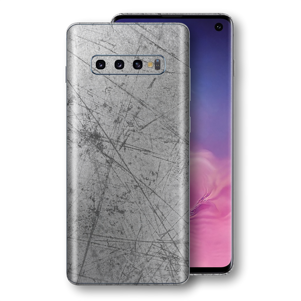 Samsung Galaxy S10 Signature Aluminium Scratched Plate Skin, Wrap, Decal, Protector, Cover by EasySkinz | EasySkinz.com