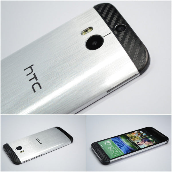 HTC ONE M8 Brushed Metal and CARBON Skin Wrap Sticker Cover Decal Protector NOT CASE