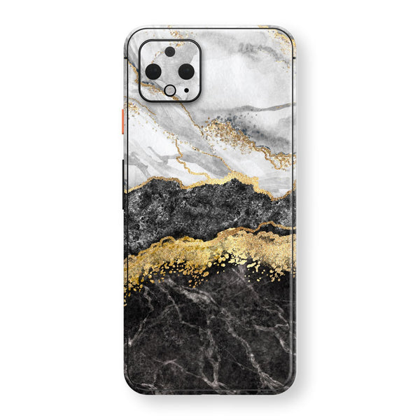 Google Pixel 4 XL Print Custom SIGNATURE Golden White-Slate Marble Skin, Wrap, Decal, Protector, Cover by EasySkinz | EasySkinz.com
