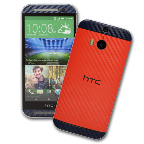 HTC One M8 red blue carbon skin